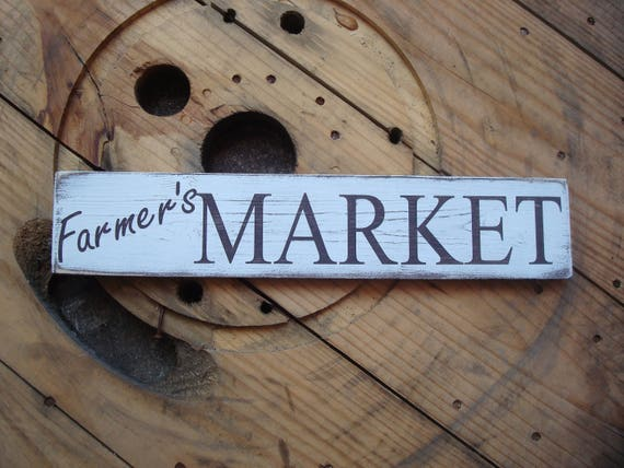 Farmer\'s market wood sign, Design ideas for home. Rustic home décor signs.  Shabby chic home decorating. Unique country sign. Wooden plaque