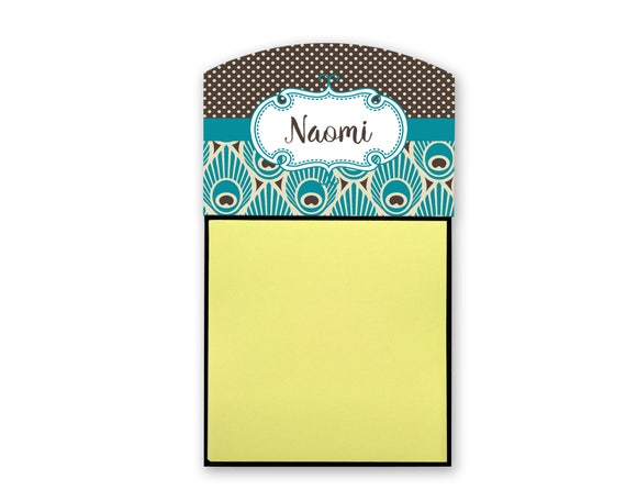 Personalized Sticky Note Holder Peacock Print Custom Office   Etsy