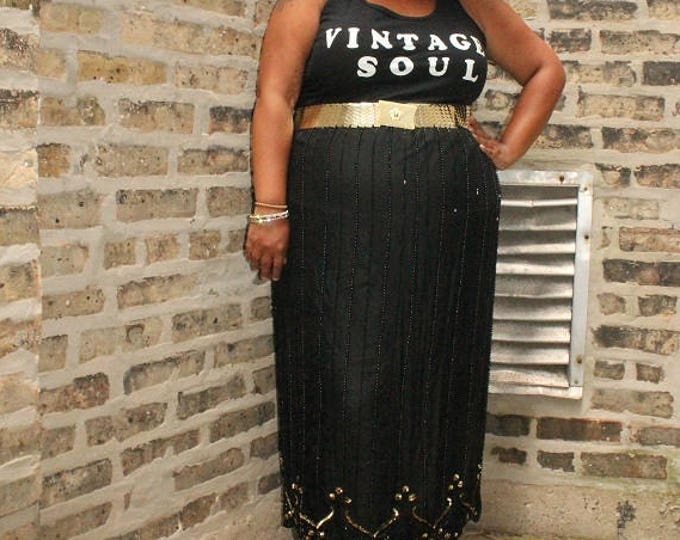 Featured listing image: Plus Size Vintage / Vintage 80s Sequin Skirt / Size 2-3X