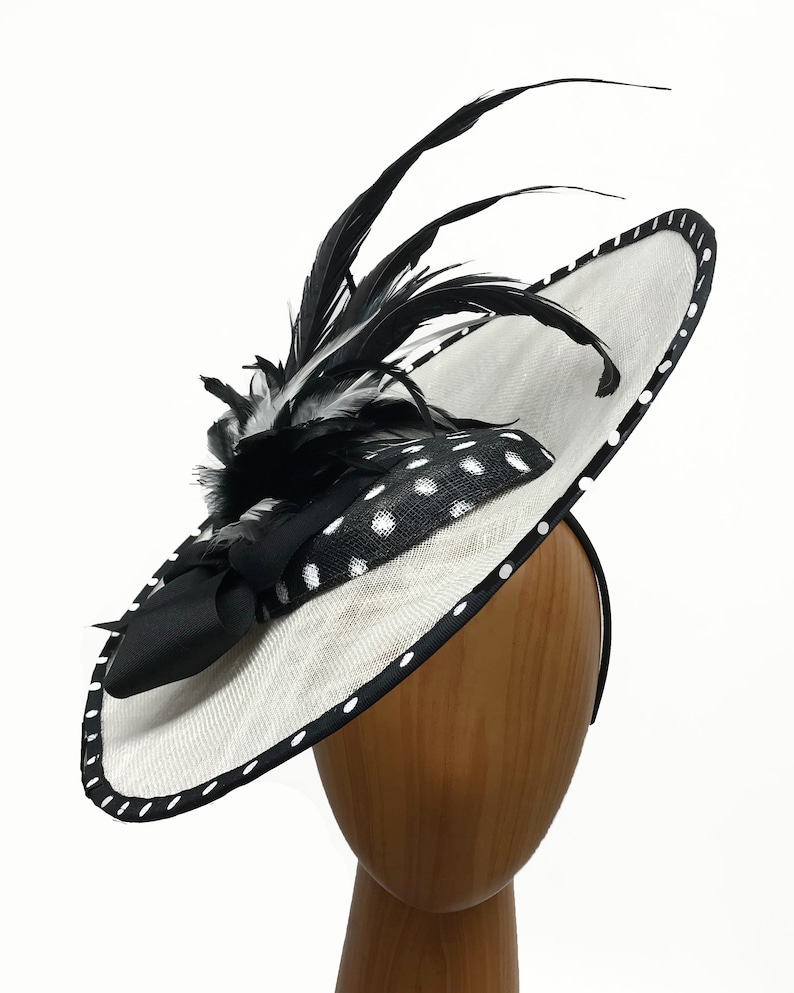 ae4bab335b0ad Large white and black asymmetric fascinator with black and