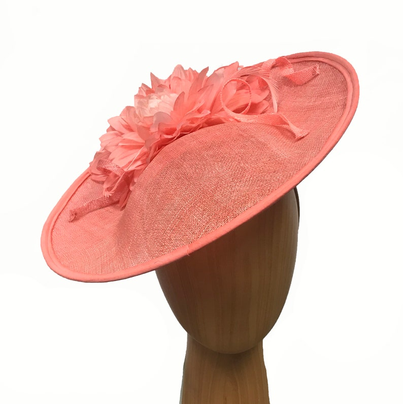 fd20433f1f4ff Large coral fascinator with large matching silk flower and
