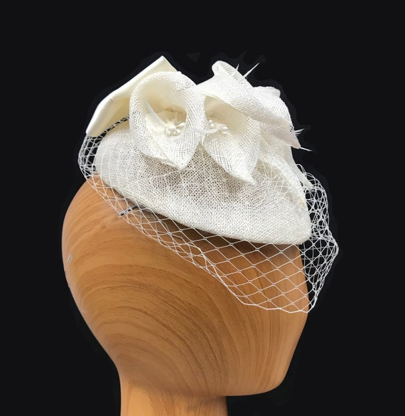 summer Small teardrop shaped pillbox hat Ivory Has handmade sinamay lilies church and other occasions netting. weddings For spring