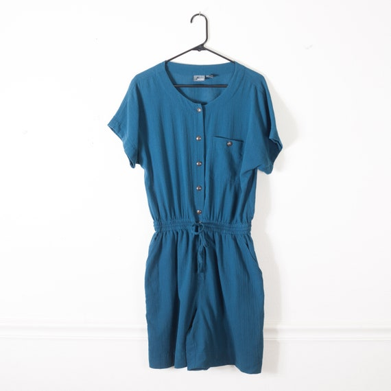 Vintage 80s Cotton Romper, Sustainable Fashion, Su