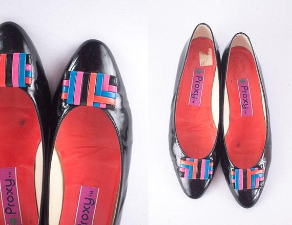 Color Block Ballet Flats, Vintage 80s Shoes, Black