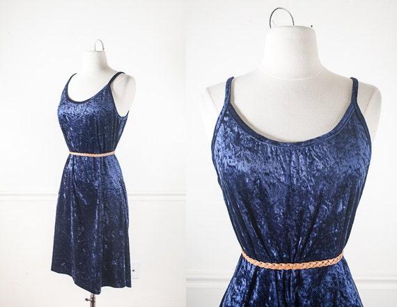 Navy Blue Crushed Velvet 90s Grunge Dress, Soft Gr