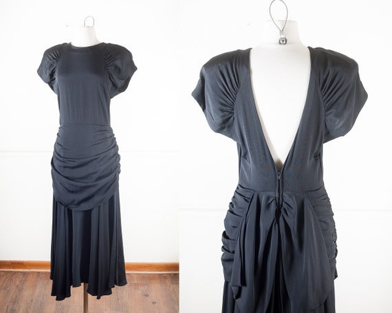 80s does 40s Rayon Black Draped Evening Gown, Femm