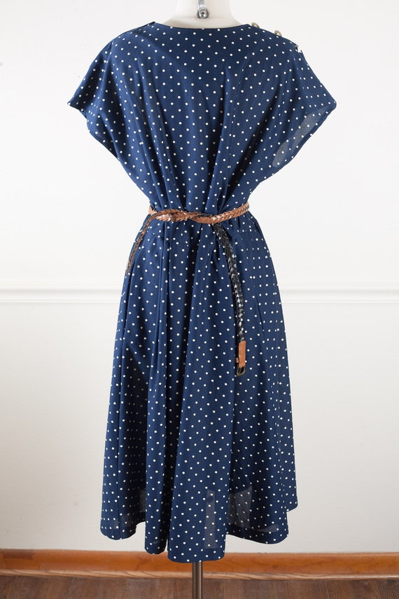 Plus Size Vintage Polka Dot Dress, 50s Style Plus Size Fit and Flare Dress,  Cute 80s Retro Navy Blue Pin Up Dresses