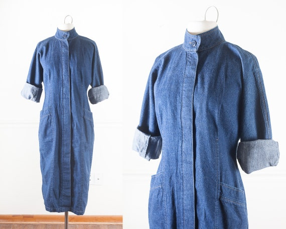 80s Denim Sack Dress - 1980s Avant Garde Denim Dre