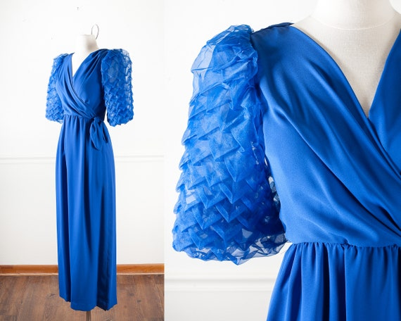 Royal Blue 1960s Evening Gown with Lantern Sleeves