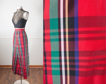 Christmas Skirt, Red and Green Plaid Maxi Skirt, Tartan Plaid, High Waisted Skirt, 80s does 50s skirt, 50s Style Skirt, Long Plaid Skirt