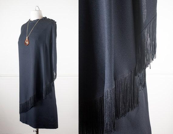 Vintage 1960s Black Fringed Cocktail Dress 20s Style Flapper Etsy