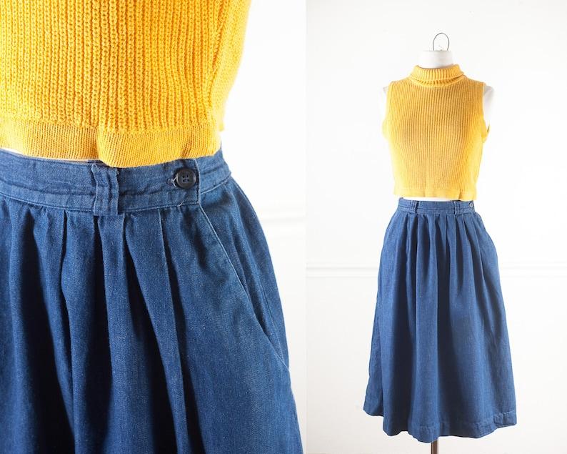 c2a282b0ba9 50s Style Vintage Denim Skirt Minimalist Clothing 80s