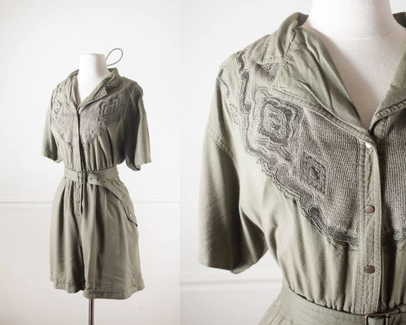 a517937299 80s Romper Soft Grunge Clothing 80s Clothing Olive Green