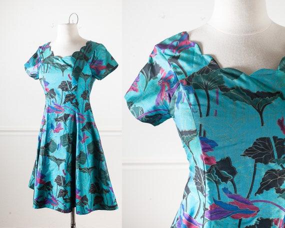 90s Floral Print Mini Dress Large 1990s Short Sleeve
