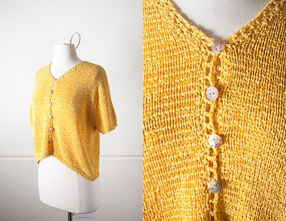 Mustard Yellow Cropped Sweater Vintage 80s Yellow Cardigan Etsy