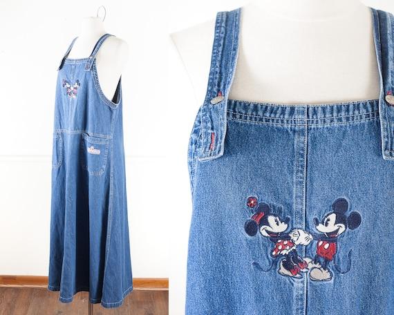 Vintage Mickey Mouse Denim Bib Overalls Dress, Vin
