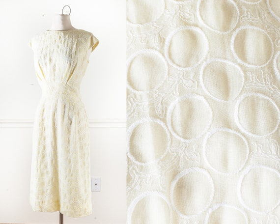Vintage 50s Pale Yellow Embroidered Dress, Retro 1