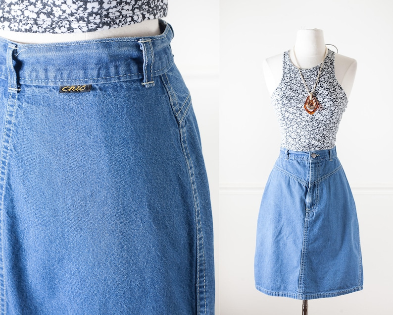 8abc4d353d 1980s Denim Skirt Blue Jean Skirt Retro 80s Skirt High   Etsy