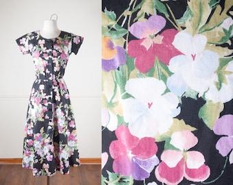 Floral Print 80s Dress, 80s Does 50s Dress, 50s style Dress, 80s Dress, Shirt Dress, Floral Dress, Boho Chic Cotton Sundress, Black Dress