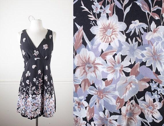Vintage 90s Black and White Grunge Babydoll Dress Novelty Flower Print