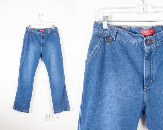 Vintage 70s High Waist Trouser Jeans, Wide Leg Jea