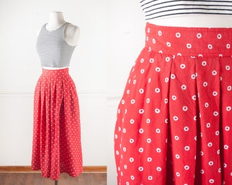High Waist Red Polka Dot 80s Skirt, High Waisted Skirt Polka Dot Skirt, Bohemian Clothing, 80s Clothing, Retro Skirt
