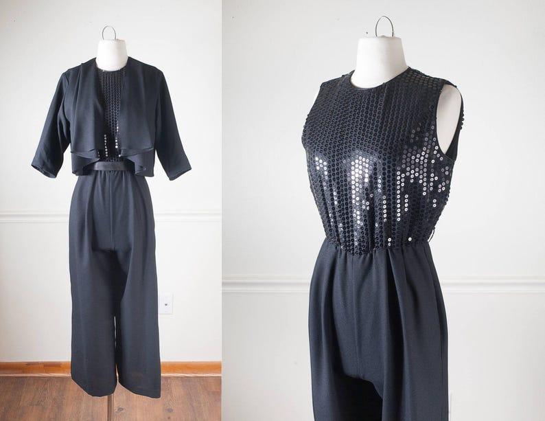 1089c8ed63 Vintage 80s Sequined Black Jumpsuit Minimalist Cocktail