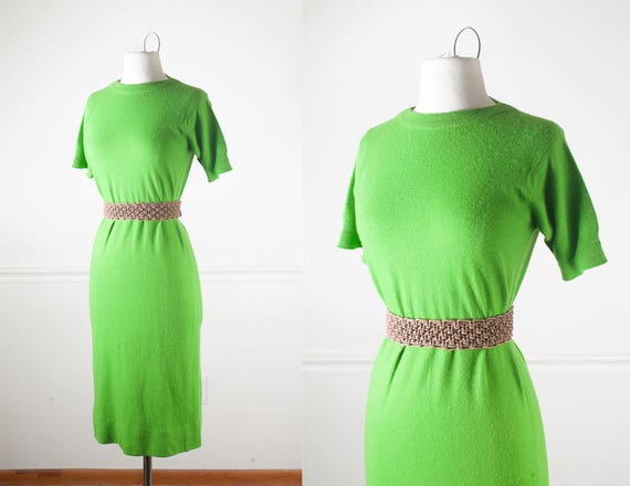 Vintage 50s Green Cashmere Sweater Dress, Lime Gre