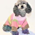 "Dog SWEATER 11"" XS Small Upcycled Pastel Stripe Sweater"