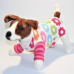 "Dog SWEATER 11 1/2 - 12"" XS Small Upcycled Retro Flowers Sweater Dress"