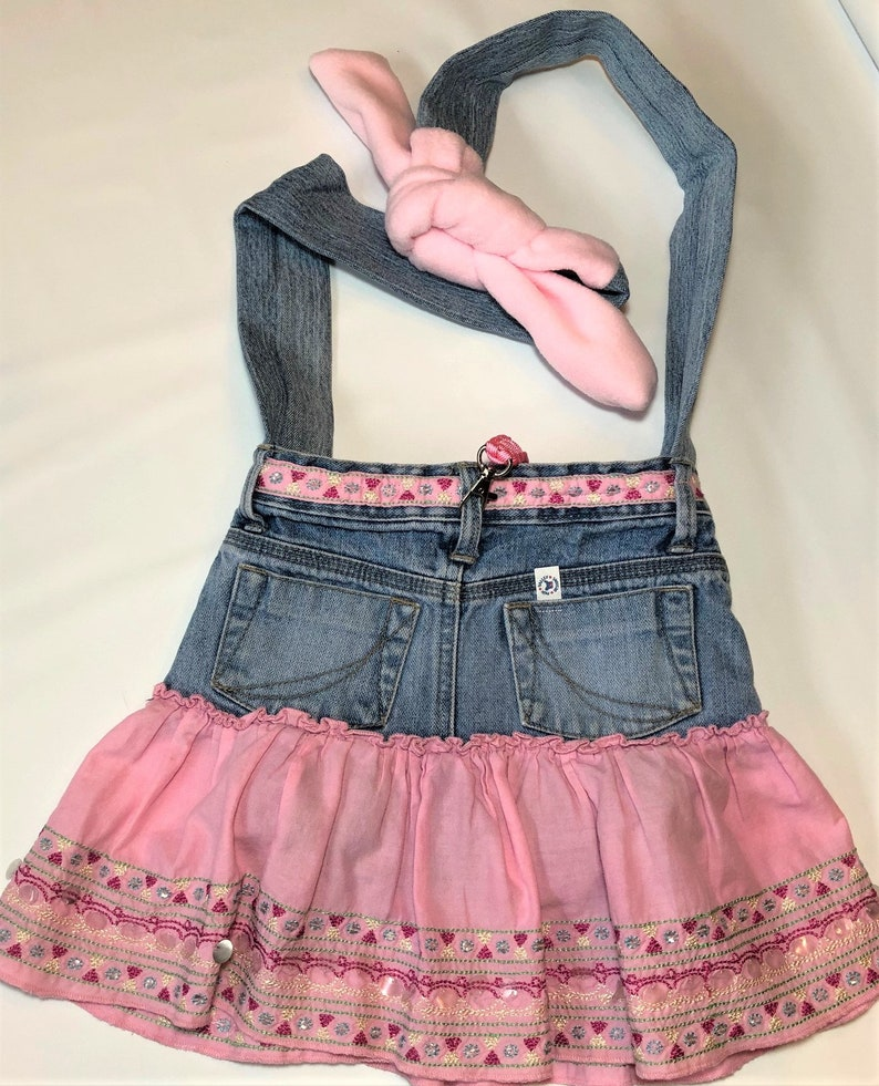 PET CARRIER Small Pet Sling Upcycled Jeans  Ruffle Skirt/Pink image 0