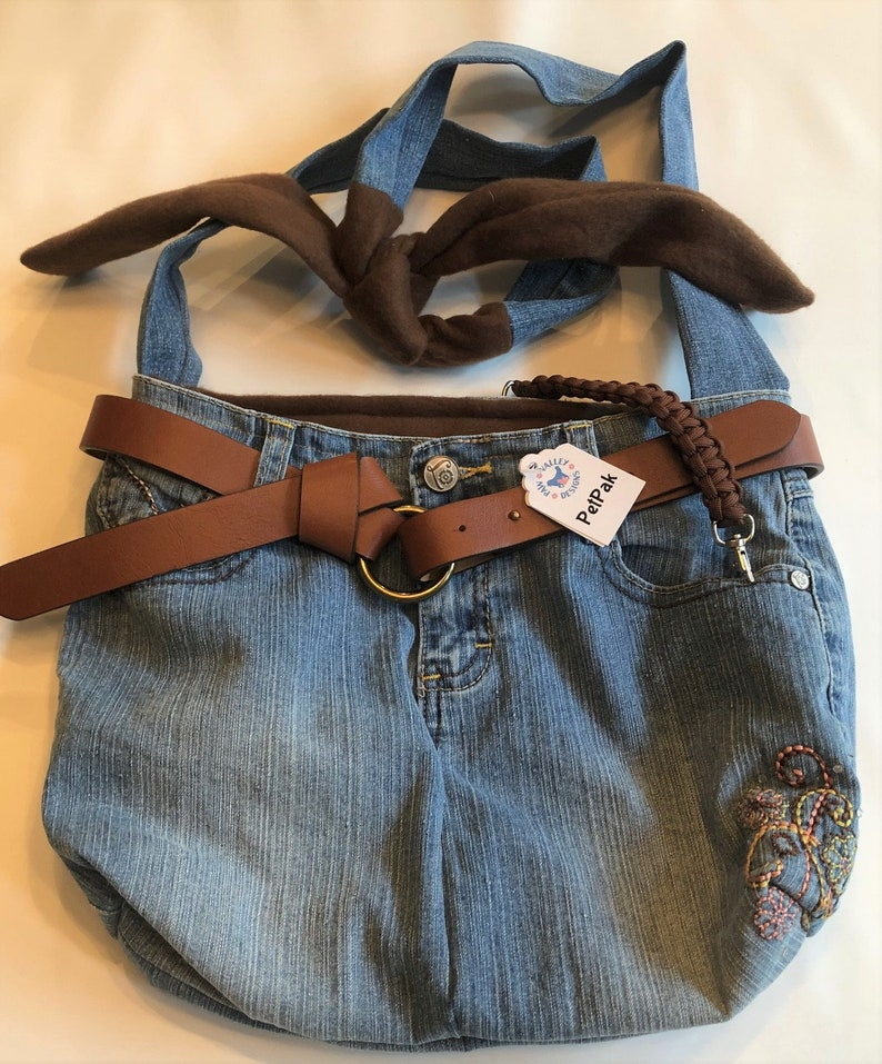 PET CARRIER Small Pet Sling Upcycled Jeans  Brown image 0