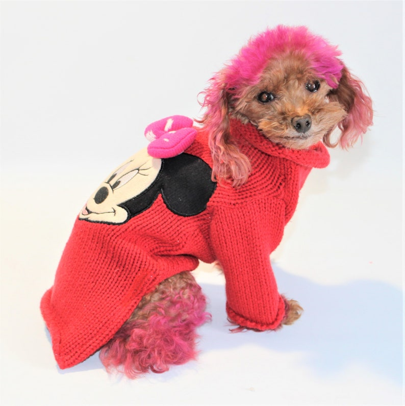 Dog SWEATER 11 XS Small Upcycled Red Minnie Mouse image 0