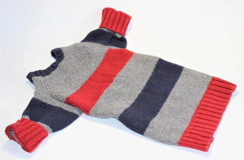 Dog SWEATER 21 Upcycled Large Red Blue Gray Striped image 0