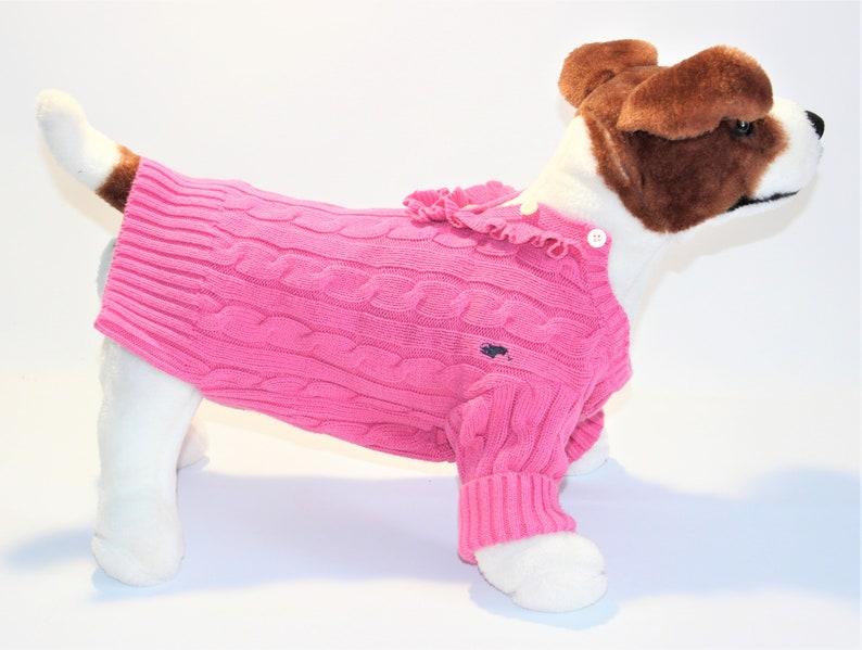 Dog SWEATER 12 1/2 XS Small Upcycled Pink Ruffle Neck image 0