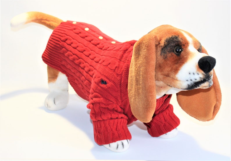 Dog SWEATER 16  Large Upcycled Red Cardigan Dog Sweater image 0