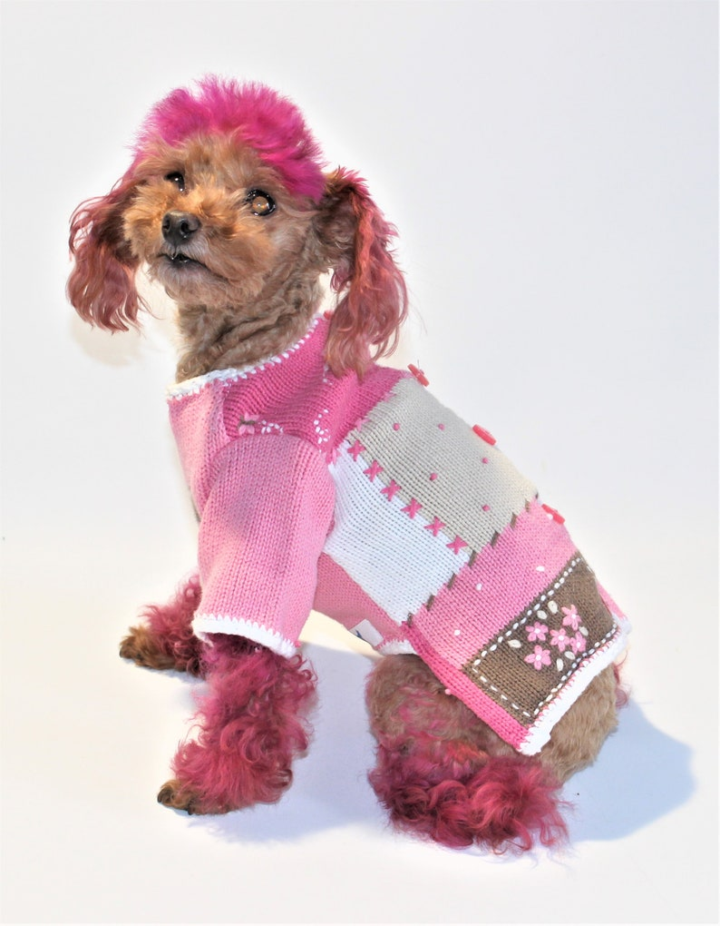 Dog SWEATER 8 TEACUP Upcycled Pink Button Cardigan image 0