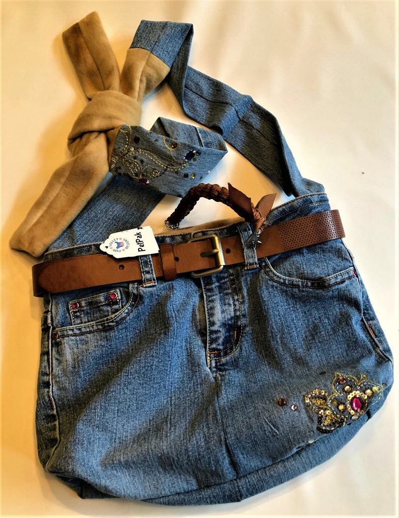 PET CARRIER Small Pet Sling Upcycled Jeans  Tan/Brown image 0