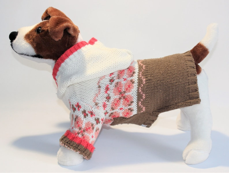 Dog SWEATER 12/13 XS Small Orange & Brown Floral Hoodie image 0