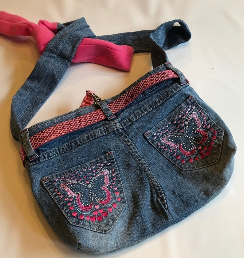 PET CARRIER Small Pet Sling Upcycled Jeans  Pink Sparkle image 0