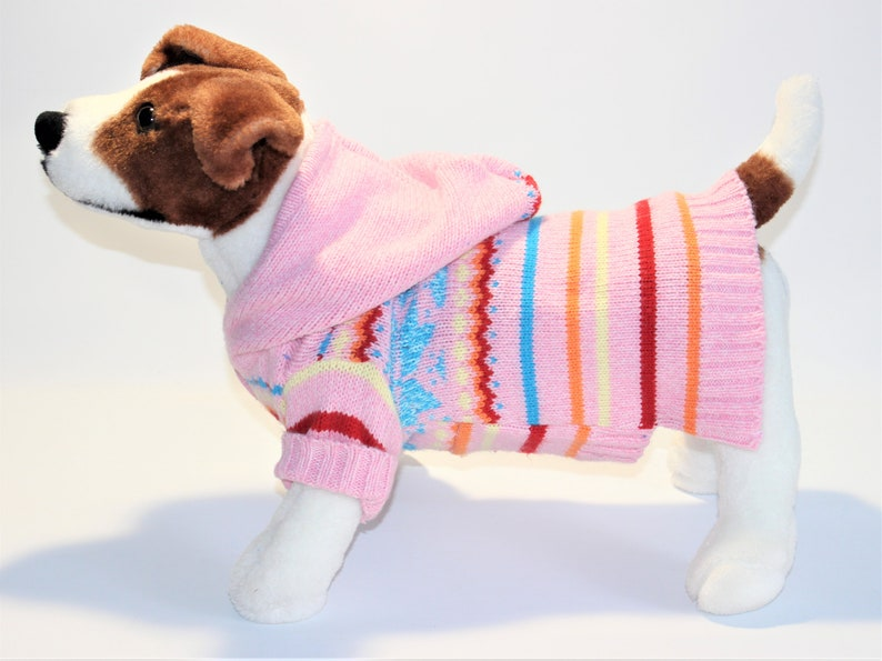 Dog SWEATER 14 XS Small Pink & Blue Striped Hoodie image 0