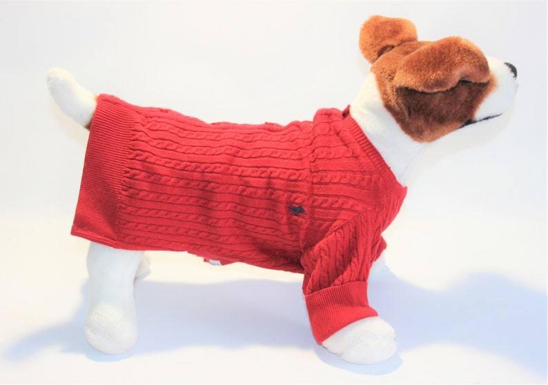 Dog SWEATER 12 1/2-13  Small Upcycled Red Cardigan Dog image 0