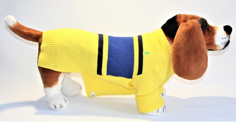 Dog SWEATER 18 Upcycled Large Yellow IZod Sweater image 0