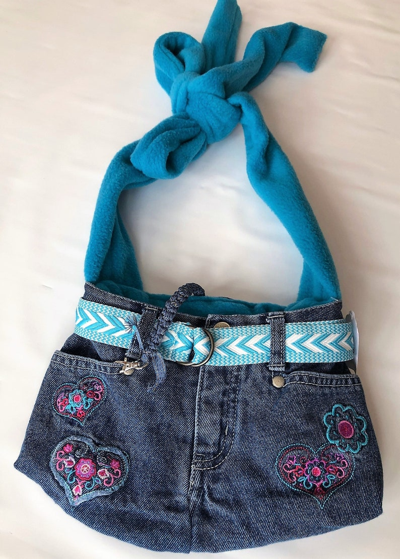 PET CARRIER XSmall Pet Sling  Upcycled Jeans image 0