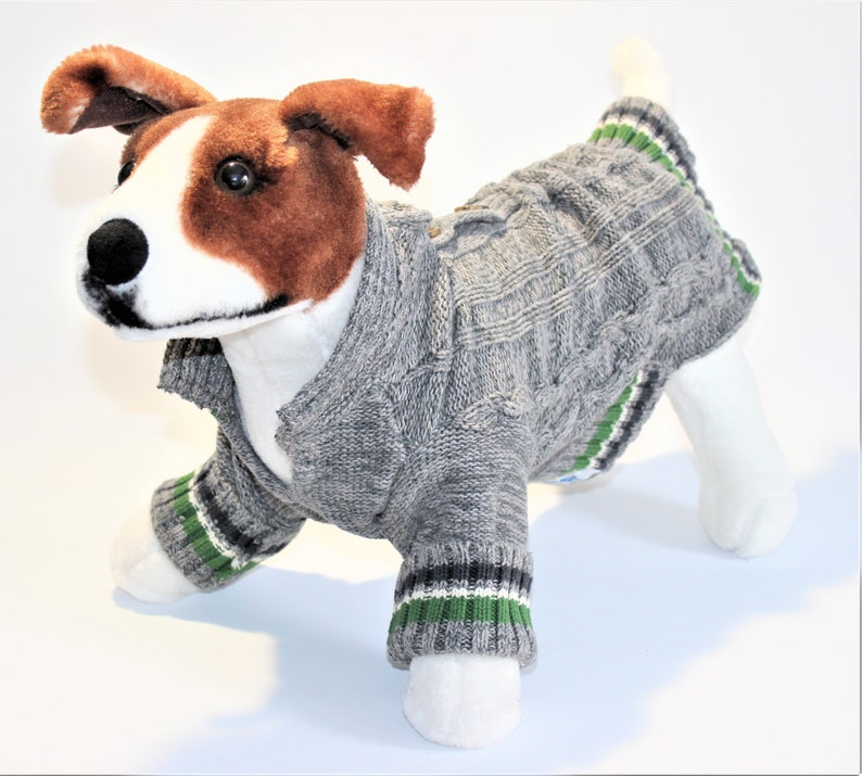 Dog SWEATER 17 Upcycled Med/Large Open Neck Gray Sweater image 0