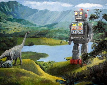 """Surreal Print of 'Robot meets Dinosaurs' 6""""x9"""", 8""""x12"""", 12""""x18"""", or 16""""x24"""""""
