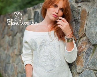 White Sweater, Felted wool sweater, Nuno felted Pullover, Nuno Felt, Eco Fashion, Sweater for Women, Unique clothing, Chic White Sweater