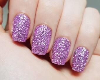 Light Purple Glitter Nails