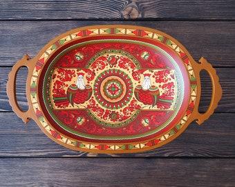 Hand Painted Wooden decorative dish. Russian folk art.