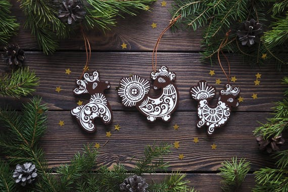 Gray Christmas Tree Decorations.Wooden Christmas Ornaments Handpainted Russian Folk Art Toys Christmas Tree Decorations Set Of 3